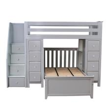 See Details - All in One Staircase Loft Bed Storage Storage   Twin Bed Grey