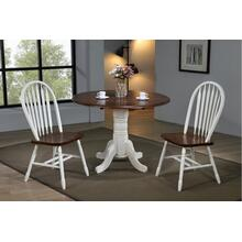 "DLU-ADW4242-820-AW3PC  3 Piece 42"" Round Drop Leaf Dining Set  Arrowback Chairs"