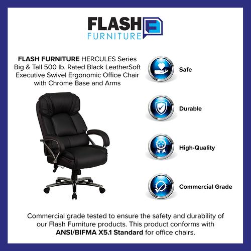 Gallery - HERCULES Series Big & Tall 500 lb. Rated Black LeatherSoft Executive Swivel Ergonomic Office Chair with Chrome Base and Arms