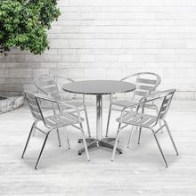 See Details - 31.5'' Round Aluminum Indoor-Outdoor Table Set with 4 Slat Back Chairs