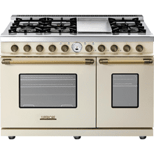View Product - Range DECO 48'' Classic Cream matte, Bronze 6 gas, griddle and 2 electric ovens, self-clean