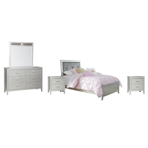 Product Image - Twin Panel Bed With Mirrored Dresser and 2 Nightstands