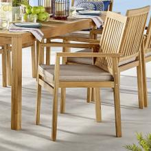 Farmstay Outdoor Patio Teak Wood Dining Armchair in Natural Taupe