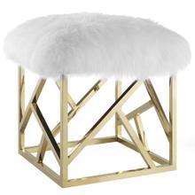 Intersperse Sheepskin Ottoman in Gold White