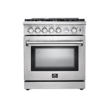 "30"" Lseo Gas Range with 240 Volt Electric Oven Dual Fuel FORNO ALTA QUALITA Stainless Steel, 5 Defendi Italian Burners FFSGS6195-30"