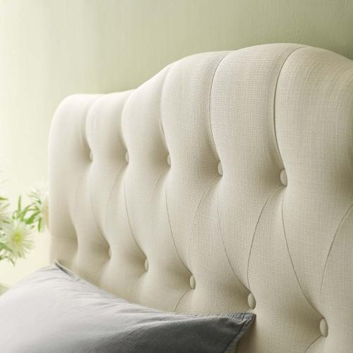 Annabel Queen Upholstered Fabric Headboard in Ivory