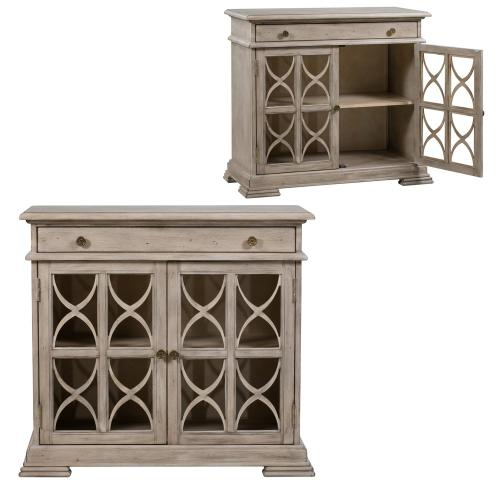 Crestview Collections - Hawthorne Estate 1 Drawer 2 Door Fretwork Cabinet Brushed Wheat Finish
