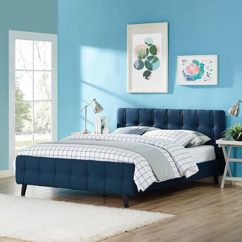 Ophelia Queen Fabric Bed in Azure