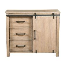 Farmhouse Style Distressed Driftwood Sliding Door Accent Storage Chest