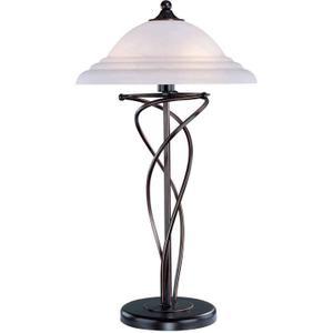 Table Lamp, Dark Bronze W/cloud Glass Shade, E27 Cfl 13wx2