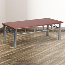 See Details - Mahogany Laminate Coffee Table with Silver Steel Frame
