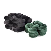 Gila Black and Emerald Velvet Knot Pillows - Set of 2