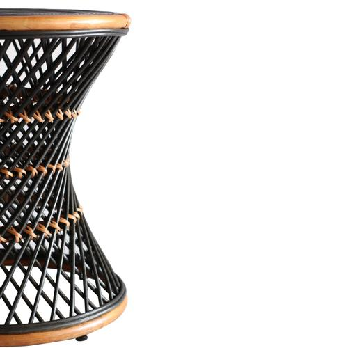 Kirby Rattan Round Side/ End Table, Black
