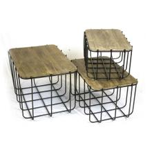 S/3 Metal Baskets W/ Wood Lids