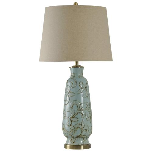 Product Image - Ceramic Table Lamp with Brass Accents Natural Linen Shade