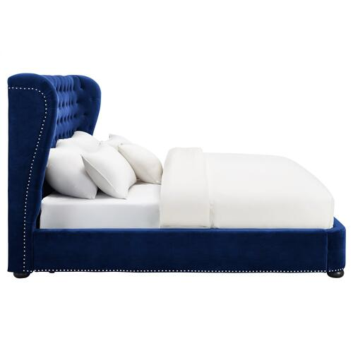 Tov Furniture - Finley Blue Velvet Bed in Queen