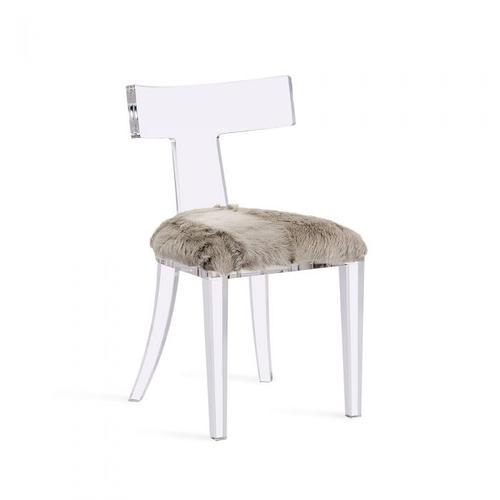 Tristan Acrylic Klismos Chair-Grey Goat