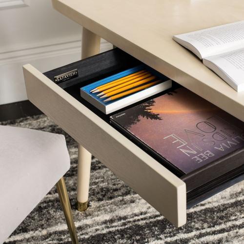 Parker 1 Drawer Desk - White Washed / Gold
