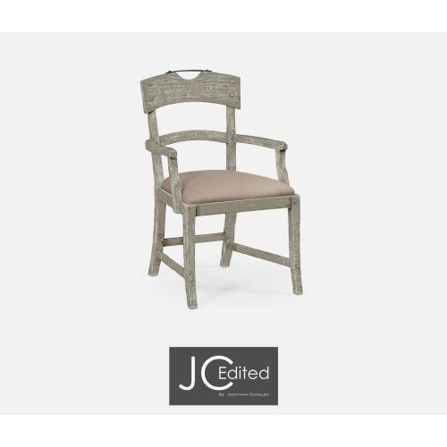 Armchair with upholstered seat in rustic grey