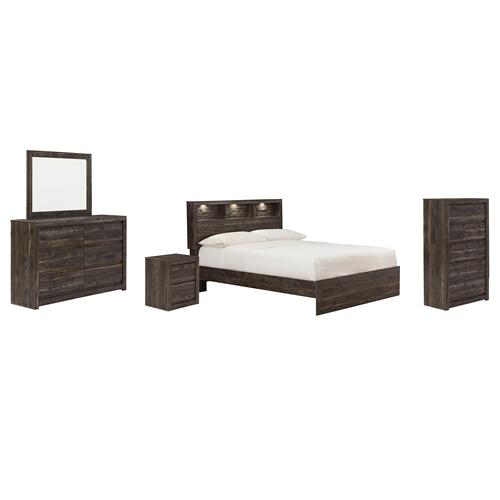 Queen Bookcase Panel Bed With Mirrored Dresser, Chest and Nightstand