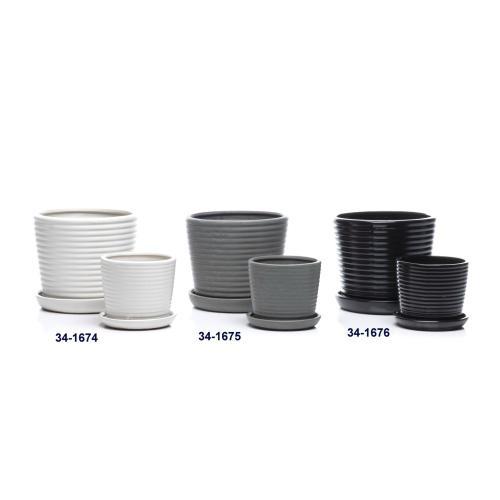 Ringlet Petits Pots w/ attached saucer, Dove - Set of 2 (Min 4 sets)
