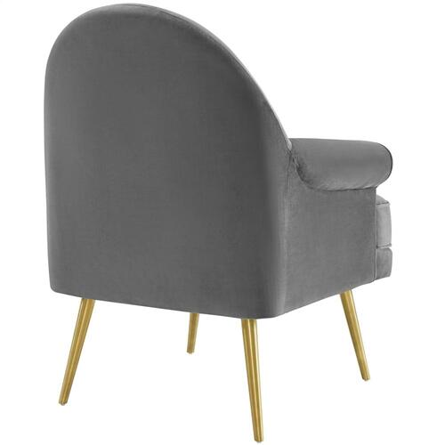 Modway - Revive Tufted Button Accent Performance Velvet Armchair in Gray