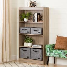 4-Shelf Bookcase - Rustic Oak