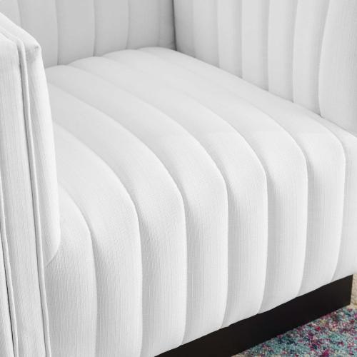 Conjure Tufted Upholstered Fabric Armchair in White