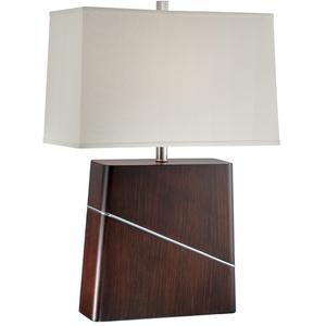 Table Lamp, Dark Walnut/off-white Fabric Shade, E27 Cfl 23w