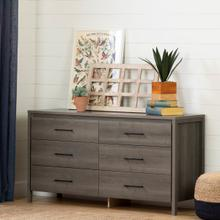 Gravity - 6-Drawer Double Dresser, Gray Maple