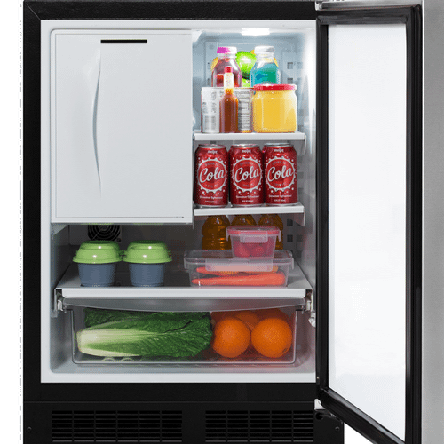 24-In Built-In Refrigerator Freezer with Door Style - Stainless Steel