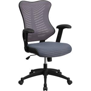 Gallery - High Back Designer Gray Mesh Executive Swivel Ergonomic Office Chair with Adjustable Arms