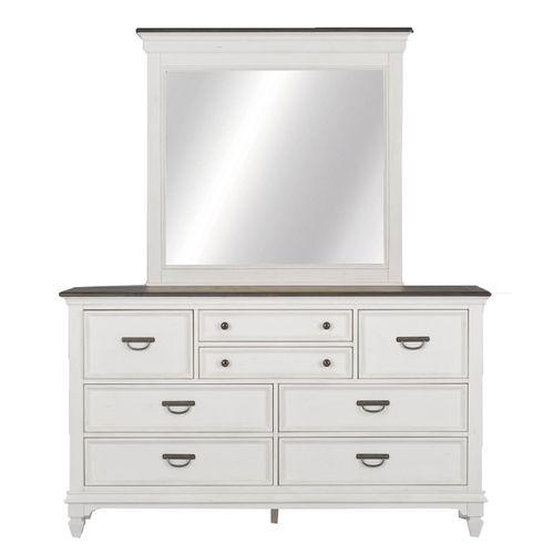 Queen Panel Bed, Dresser & Mirror