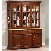 Treasure Buffet and Lighted Hutch - Nutmeg and Light Oak