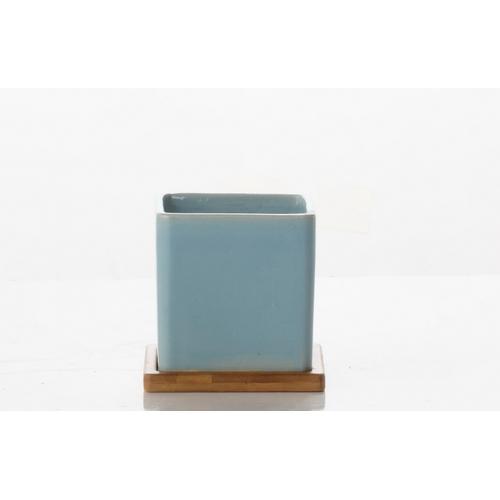 Alfresco Home - Loft Square Petits Pots w/ unattached bamboo saucer - Lite Blue
