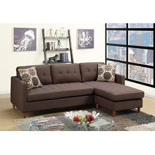 Monroe 2pc Sectional Sofa Set, Chocolate