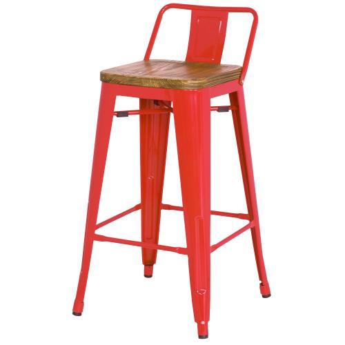 Metropolis Low Back Counter Stool Wood Seat, Red
