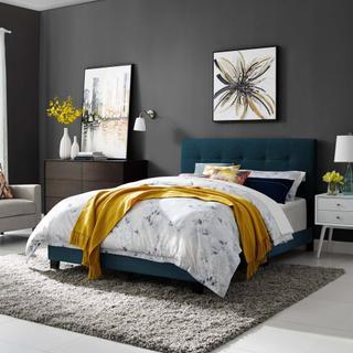 Amira Queen Upholstered Fabric Bed in Azure