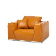 Sophia Leather Chair & Half in Tangerine St Steel