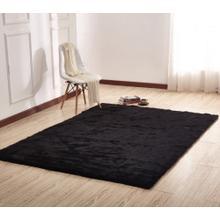 "Luxury Soft Faux Fur Sheepskin Area Rug by Rug Factory Plus - 7'6"" x 10'3"" / Black"