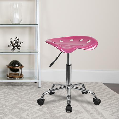 Flash Furniture - Vibrant Pink Tractor Seat and Chrome Stool
