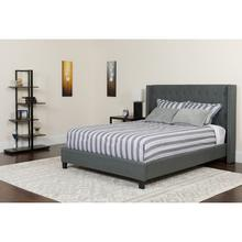 See Details - Riverdale Queen Size Tufted Upholstered Platform Bed in Dark Gray Fabric with Pocket Spring Mattress