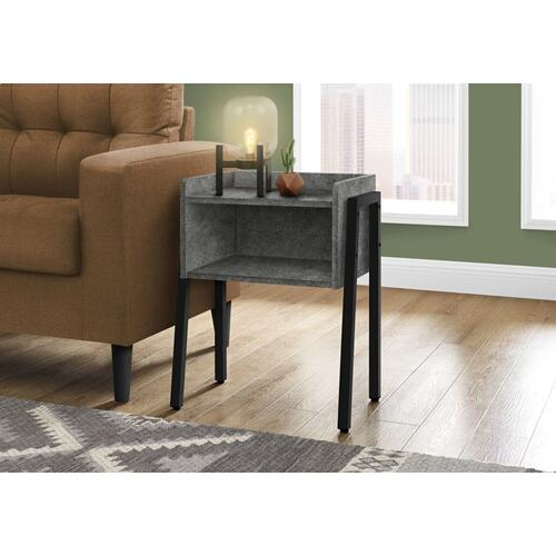 """ACCENT TABLE - 23""""H / GREY STONE-LOOK / BLACK METAL"""