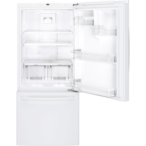 Gallery - GE 20.9 cu.ft. Bottom Freezer Refrigerator White GDE21DGKWW