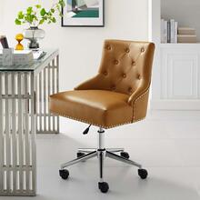 Regent Tufted Button Swivel Faux Leather Office Chair in Tan