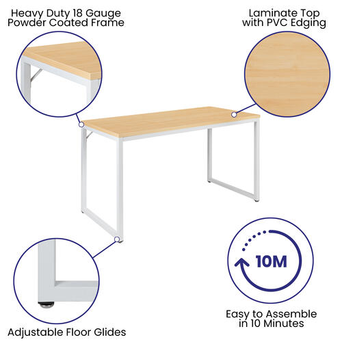 "Gallery - Tiverton Industrial Modern Desk - Commercial Grade Office Computer Desk and Home Office Desk - 47"" Long (Maple\/White)"