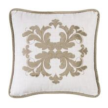 Madison White Linen Pillow W/ Velvet Embroidery (2 Colors) - Oatmeal