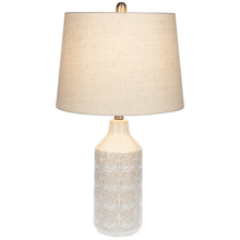 Ivory Reactive Glaze Embossed Floral Table Lamp. 60W Max.