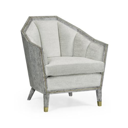 Geometric Dark French Oak Sofa Chair, Upholstered in COM