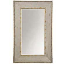 Hand Painted Ivory & Gold Weathered Beveled Mirror